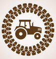 tire print with symbol of tractor vector image