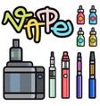 vape device set cigarette vaporizer vapor vector image