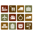 Flat logistics shipping and transportation icons vector image