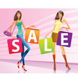 Shopping girls with sale campaign bags vector image vector image