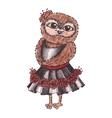 Cute owl in a dress Watercolor vector image vector image