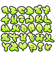 Graffiti bubble fonts with gloss and outline lemon vector image