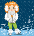 little girl on the winter background vector image