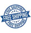 free shipping grunge retro blue isolated ribbon vector image