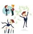 business men handshake businessman throwing money vector image
