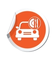 car with meal icon orange label vector image