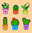 cute cartoon kawaii set of plant cactus vector image