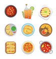 mexican traditional food top view plates isolated vector image