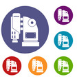 Pneumatic hammer machine icons set vector image