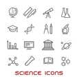 Science and education thin line icons vector image