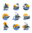 set of yacht icons vector image