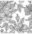 vintage hibiscus flowers seamless pattern vector image