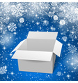 White box with shadows and reflectoins Blue snow vector image