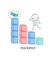marketer is running on schedule to money vector image vector image