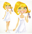 Cute blond girl in a white dress with sunglasses vector image vector image
