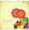 Sweet candy on Retro background vector image