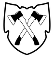 ax in shield icon vector image