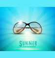 Sunglasses in the sun lying against the blue sea vector image