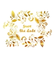 Gold greeting or save the date card vector image