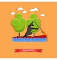 Man swims in kayak with paddle flat design vector image vector image