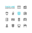 Office Supplies - Thick Single Line Icons Set vector image