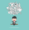 cartoon businessman swinging on business doodles vector image