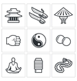 Wing Chun icons vector image