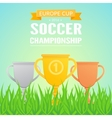 Trophy cups on field grass vector image