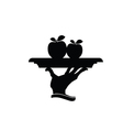 apple on plate black silhouette vector image
