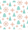 Christmas trees and snowflakes seamless vector image