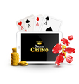 Online casino design poster banner Tablet with vector image