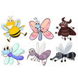Six flying insects vector image