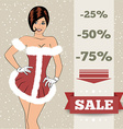 Chistmas sale background with sexy santa girl vector image vector image