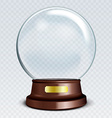 Empty Snow Globe White transparent glass sphere on vector image