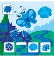 Blue Butterfly Fly Over River vector image