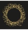 Golden sequins are scattered on a black background vector image