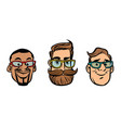 head stylish guys hipsters multi-ethnic group vector image