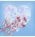 Magnolia Flowers and Valentines Heart vector image