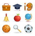 Realistic School icons education symbols set line vector image