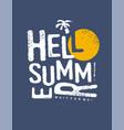 hello summer typography print design vector image
