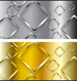 Abstract tech metallic and golden banners vector image vector image