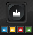 Birthday cake icon symbol Set of five colorful vector image