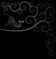 Black cat on spiral tree vector image