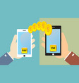 hands holding smart phone with banking payment vector image