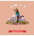 Happy couple having picnic in a park vector image