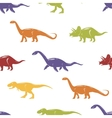 Seamless pattern with colorful dinosaurs on white vector image