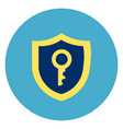 shield with key icon on round blue background vector image