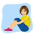 young woman sitting on the floor vector image