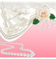 background with bridal satin and flower vector image vector image