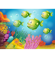 A group of green piranhas under the sea vector image vector image